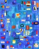 Blue Mood by Leilani Roosman, Painting, Acrylic on paper